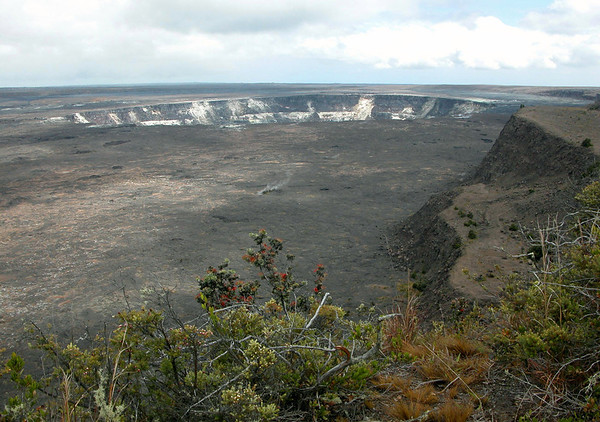 Halema'uma'u Crater, circular ring fault - from the Kilauea Caldera, from its highest point along the northwest rim - Hawaii Volcanoes National Park.