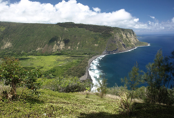 """Waipi'o Valley and Beach - northwestern view, about 1500 ft. (457 m) down to the valley floor, and the north rim - Waipi'o (meaning """"curved water"""") - Hamakua district"""