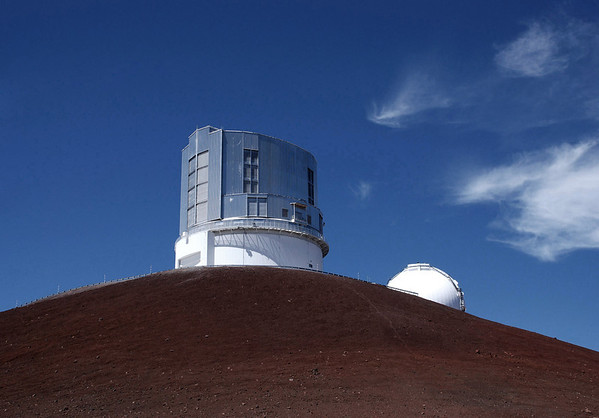 Tops of the Subaru and Keck Observatories - built upon the Mauna Kea Volcano - Hamakua district