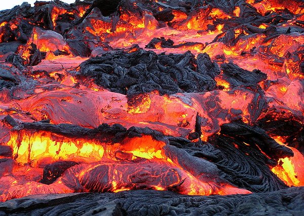 """A'a - a basaltic lava characterized by a rough or rubbly surface composed of broken lava blocks called """"clinker"""" - Hawaii Volcanoes National Park"""