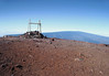 Lele ho'okau, an altar for offerings and prayers - atop the summit of Mauna Kea Volcano, the highest point in the state of Hawaii, rising to 13,796 (ft. (4,205) - with the summit of the Mauna Loa Volcano in the distance, which peaks just 115 ft. (35 m) below the peak here - Hamakua district