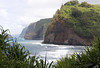 From the mouth of the Pololu Valley - southeastern view down the sea cliffs of the Kohala Coast - and the islets of Paoakalani and Pa'alalea - Kohala district