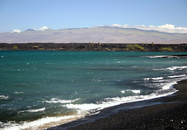 Across Kiholo Bay - and the 1859 lava flow from Mauna Loa Volcano - up the southwestern slopes of the Kohala Volcano (the oldest of the 5 volcanoes, that comprise the island, that became dormant about 300 million years ago - Kohala district