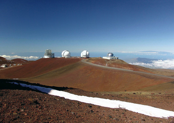 Subaru - Twin Keck - NASA Infared Observatories - with below left, the James Maxwell Telescope and the Submillimeter Array of Radio Telescopes - upon the Mauna Kea Volcano - Hamakua district