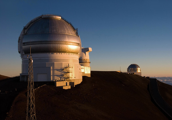 Sunset upon the Gemini Observatory - University of Hawaii Telescope - United Kingdom Infrared Telescope - atop the Mauna Kea Volcano - Hamakua district