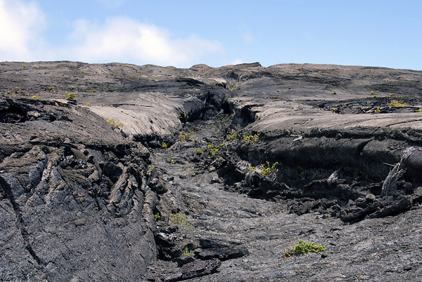 Lava channel on the northern flank of Mauna Ulu Shield - Hawaii Volcanoes National Park