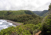 Pololu Beach - then southward up the Pololu Valley - the first of 7 valleys along the shoreline of Kohala Coast - the northeastern flank of the Kohala Volcano