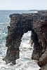 Holei Sea Arch - a 80 ft. (24 m) drop from the lava cliffs into the Pacific - Hawaii Volcanoes National Park
