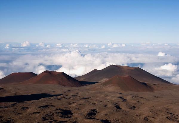 Cinder cones near the summit of Mauna Kea Volcano - above the cloud level - Hamakua district