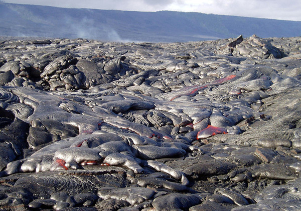 Pahoehoe (a basaltic lava, that has a smooth, billowy, and undulating surface) - Hawaii Volcanoes National Park