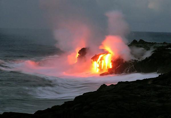 Pu'u O'o lava cascade into the Pacific Ocean - Hawaii Volcanoes National Park