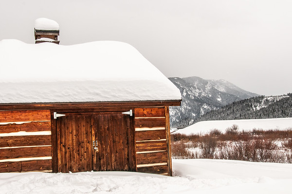 Big Sky Montana Winter Barn