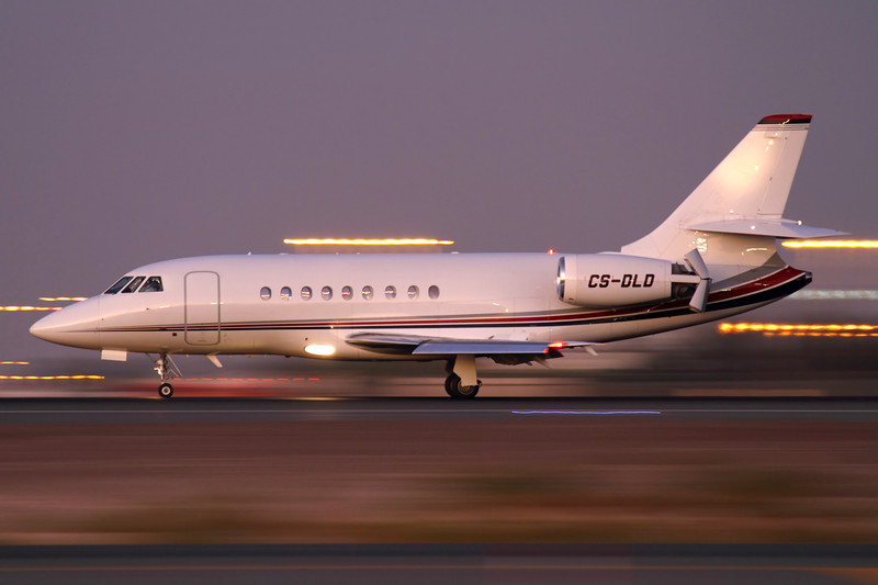 CS-DLD  - NetJets Europe, Dassault Falcon 2000EX EASy (c/n 109)<br /> <br /> Netjets Falcon landing 30L in Dubai, approximately 30 minutes after sunset. Panned at 1/10 sec, F5.6, ISO250. 14 November 2011