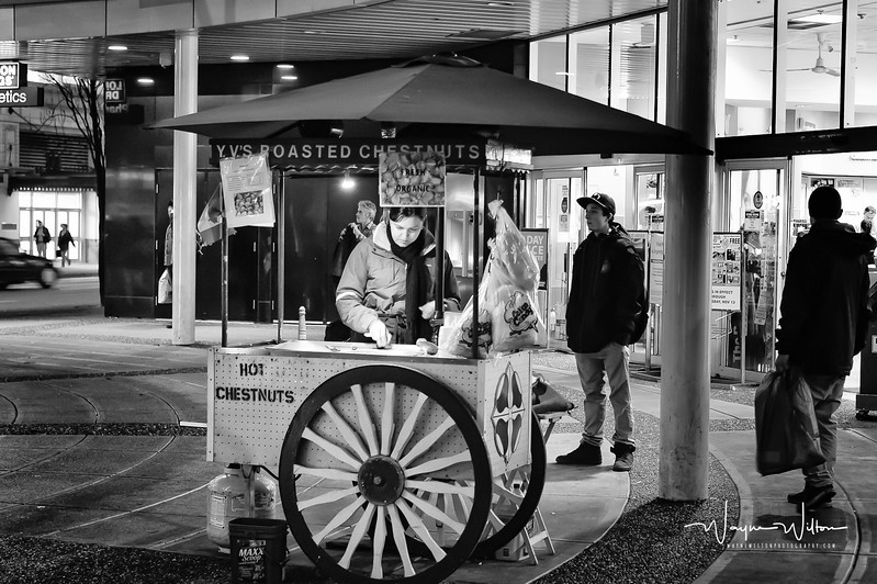 Selling chestnuts out of a cart
