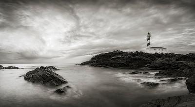 Favaritx lighthouse in black & white