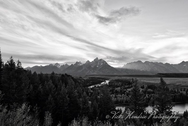 Dusk at Snake River in Black & White