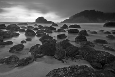 Indian Beach in Ecola State Park, Cannon Beach, Oregon. Tillamook light is on the far horizon.