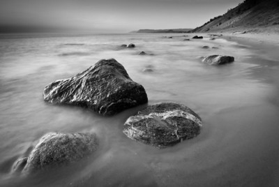 Rocks in the surf of Lake Michigan at the base of the Empire Bluffs, Sleeping Bear Dunes