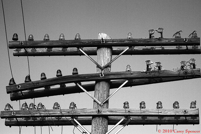 Black and White Photograph Old Electrical Insulators along Railroad Tracks in Birmingham, Alabama