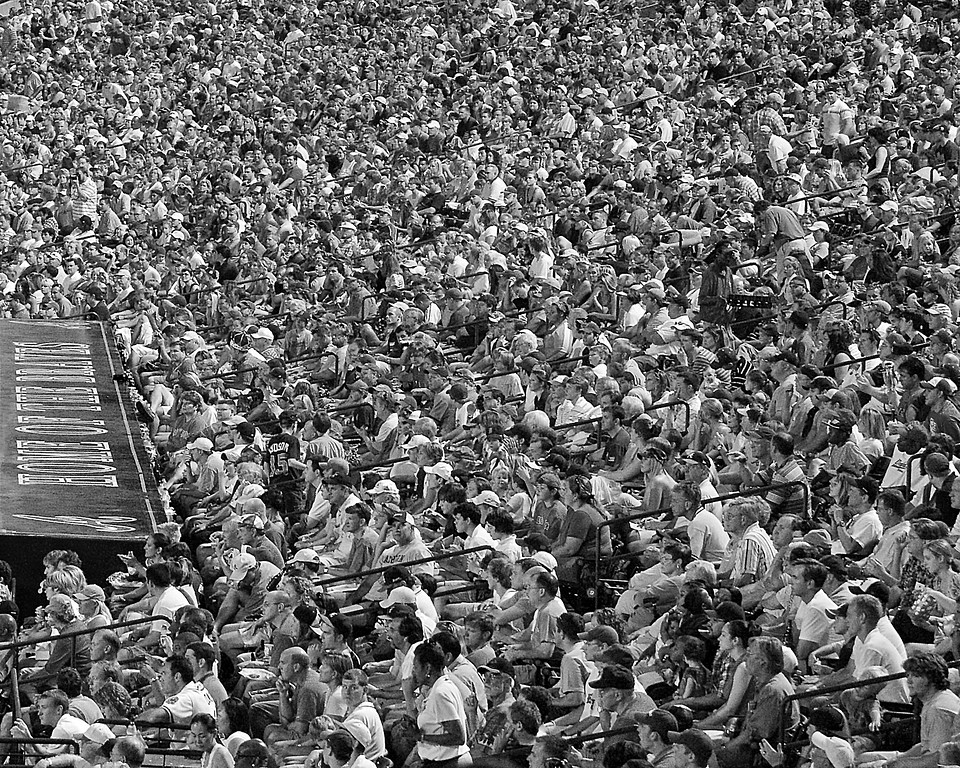 Atlanta Braves Fans at Turner Field Black and White Photograph