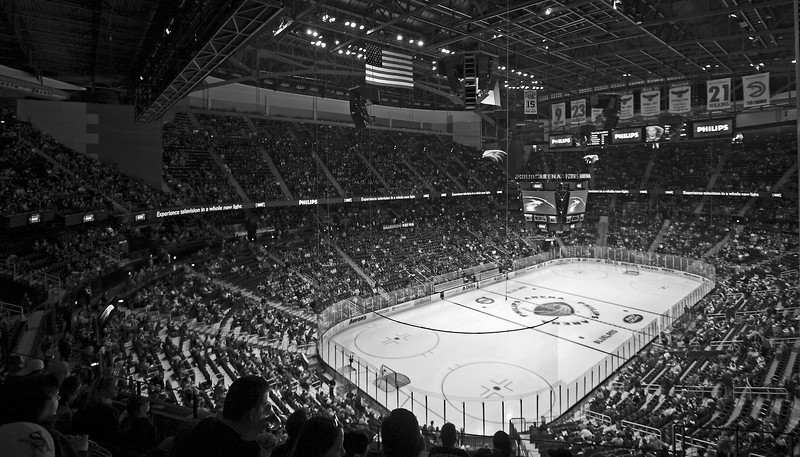 Philips Arena Atlanta Black and White Sports Photography NHL Hockey