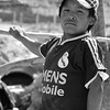 Proud child working for mining company in Huanca, Peru