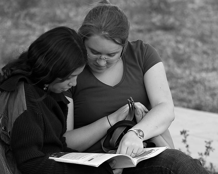 Amanda reading in town park Bella Union Peru
