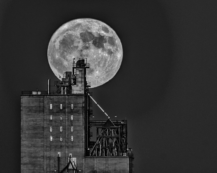 Moon and Grain Elevator B&W
