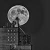 Moon and Grain Elevator B&W