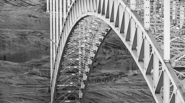 Arched Steel Bridge in Black and White