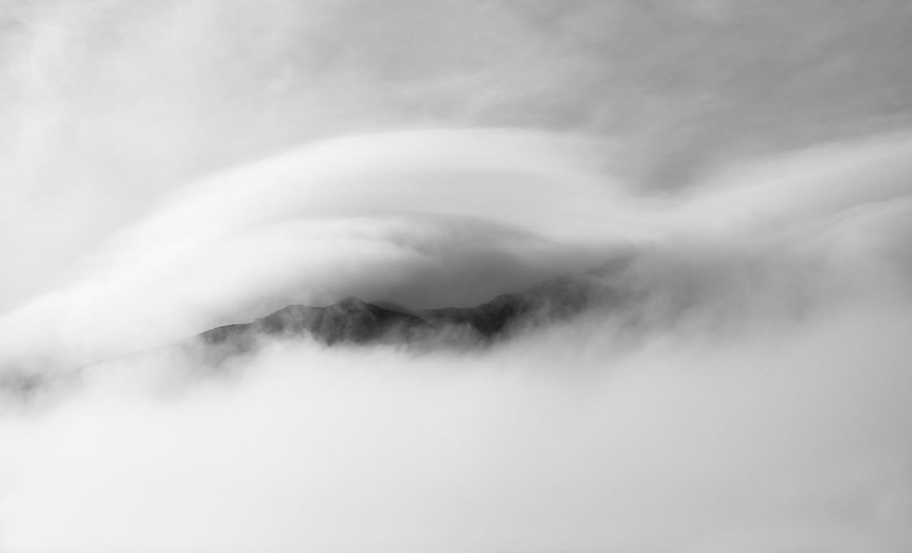 Cloud Bank over Santa Ynez Mountains, Santa Barbera County. Ca.