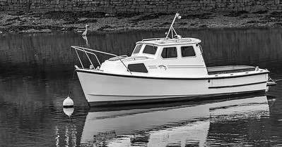 Black and White Fishing Boat