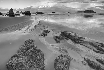 Bandon Beach, HDR in Black and White, Oregon