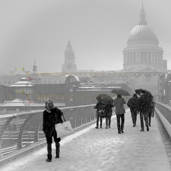 Millenium Bridge in London with St Paul's Cathedral in the background.