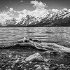 The snow capped Teton Range looms over the north end of Jackson lake in Grand Teton National Park, Wyoming.