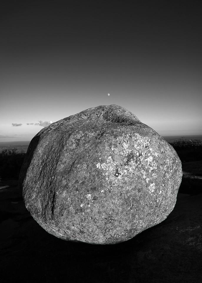 Moon and Boulder, Cadillac Mountain, Acadia National Park, Maine
