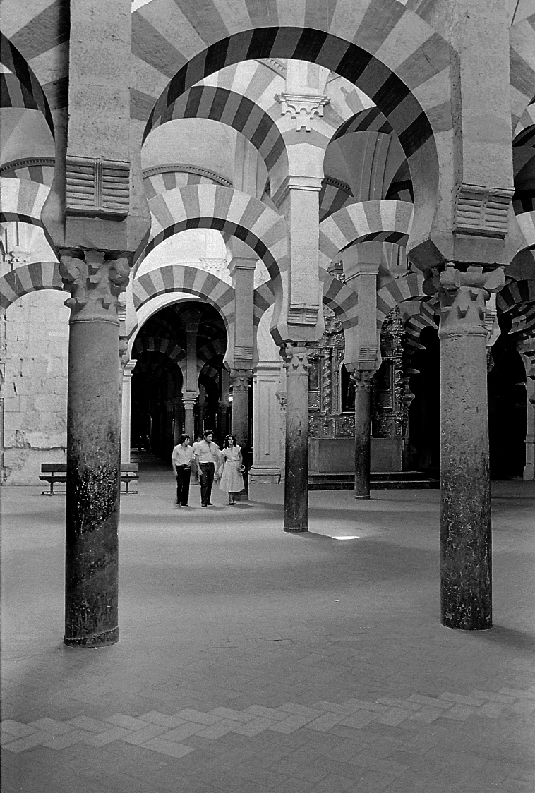Arches inside mosque in Cordoba Spain