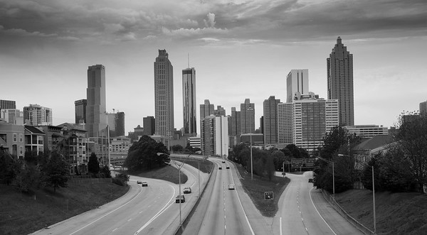 Atlanta Skyline in Black and White