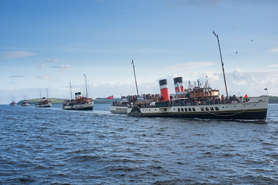 Paddle Steamers Line Astern