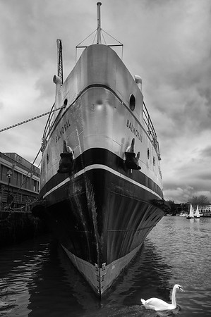 MV 'Balmoral' at her traditional winter berth in Bristol. Note her bow dimple worthy of Kirk Douglas.
