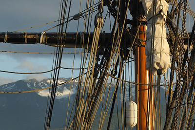 Tall Ship Mast in front of Olympic Mountains