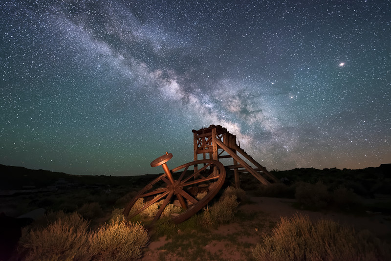 Old mining equipment at Bodie State Historic Park beneath the Milky Way