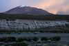 Across the dry quebrada to the dusk light upon the snow-capped peak of Cerro Khala  Katin - San Agustin canton.