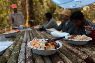 Lunch at Base Camp, Tintaya Plot Expedition, Madidi, Bolivia