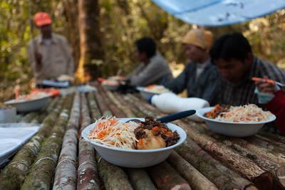 Lunch at Base Camp, Tintaya Plot Expedition, Madidi, Bolivia