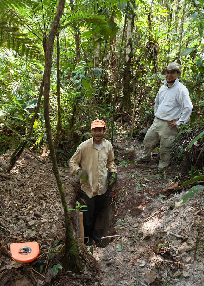 The Latrine Team - Tintaya Plot Expedition, Madidi, Bolivia. Left to right: Ivan Jimenez, Sebastian Tello