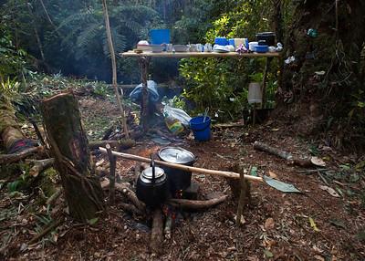 Kitchen at Base Camp, Tintaya Plot Expedition, Madidi, Bolivia