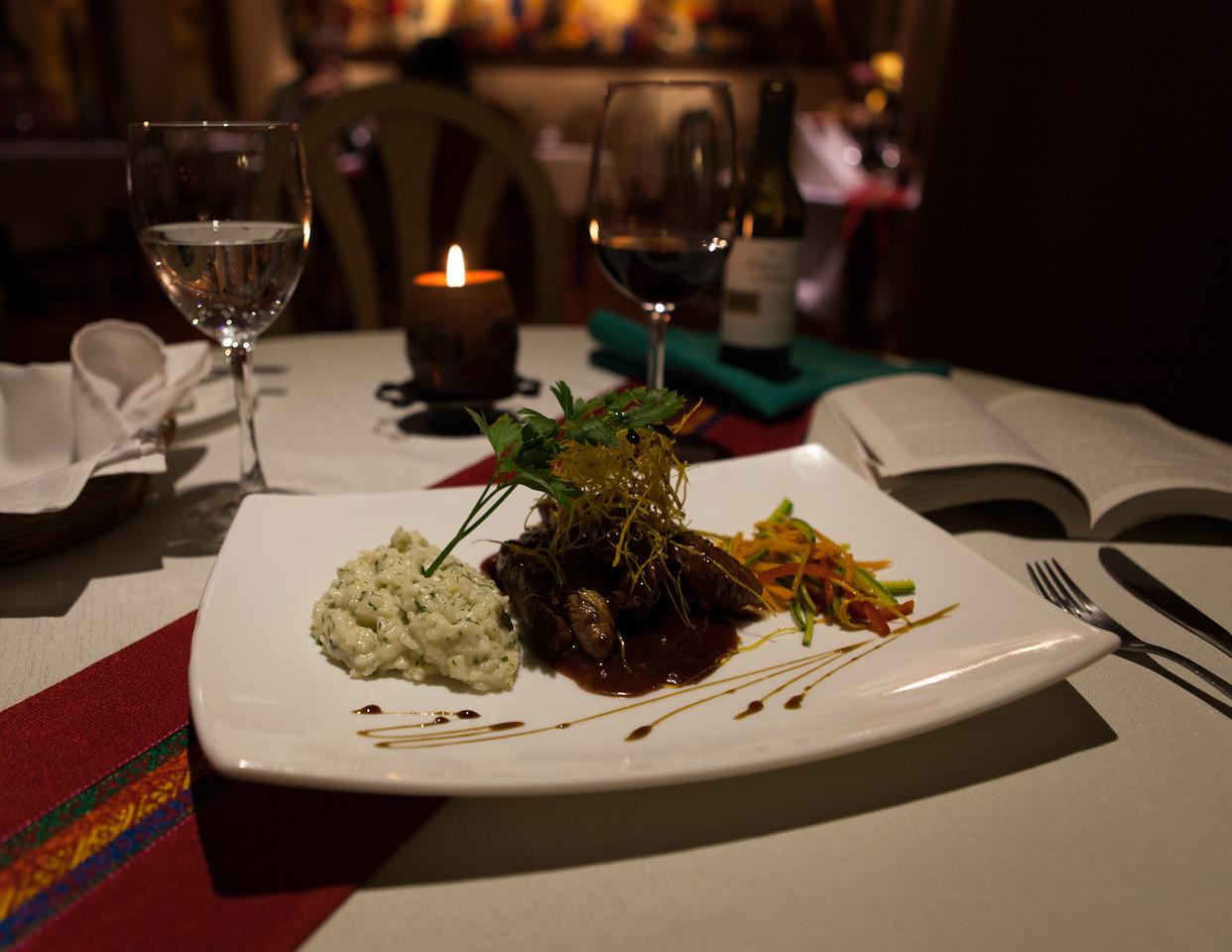 Filete de Llama en Salsa de Moras Silvestres, Risotto de Hierves, y Vegetales (Llama Steak in Wild Berries, Herb Risotto, Vegetables Sauteed in White Wine), Hotel Rosario, La Paz, Bolivia