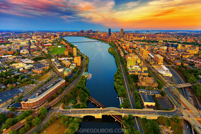 Sunset Aerial View of Boston Skyline and Charles River with BU Bridge