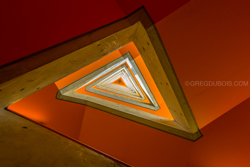 Looking Up into Triangle Stairwell from the Basement of Research Laboratory of Electronics, MIT Campus Cambridge MA